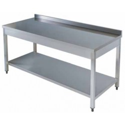 Mesa inox. c/estante 2000x600x850mm