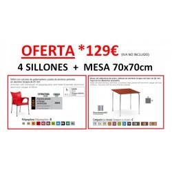 Conjunto 4 sillones + mesa 70x70cm para exteriores