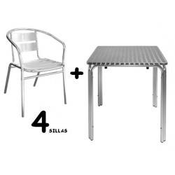 Conjunto 4 sillones + mesa aluminio para terraza