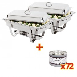 2 Chafing GN 1/1 + 72 Recargas de combustible
