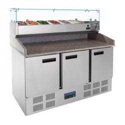 Mesa de preparación con expositor de ingredientes 1400x700x1445mm