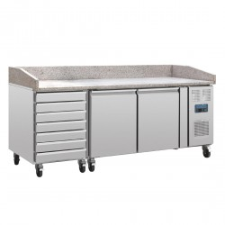 Mesa de preparación pizza 2 puertas + cajones compresor lateral