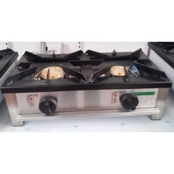 Fogón gas sobremesa 2 fuegos 600x300mm
